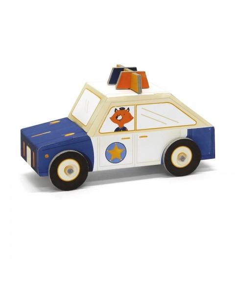 Coche policía de cartón